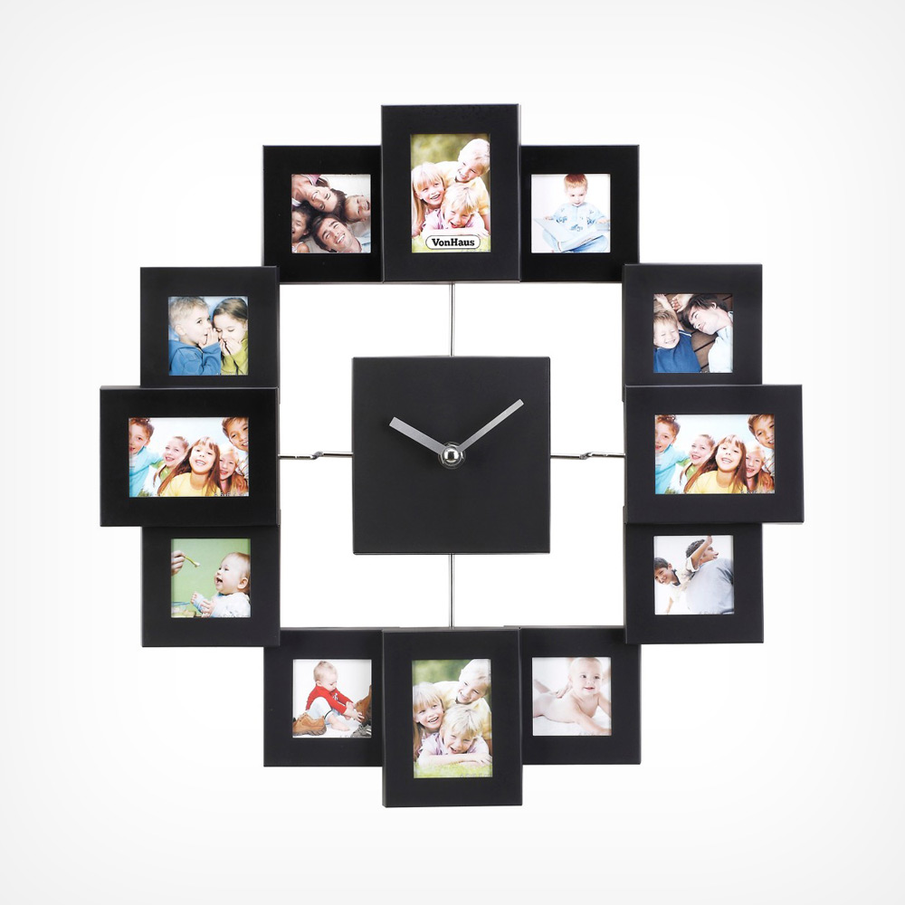 Photo Frame Clock Black