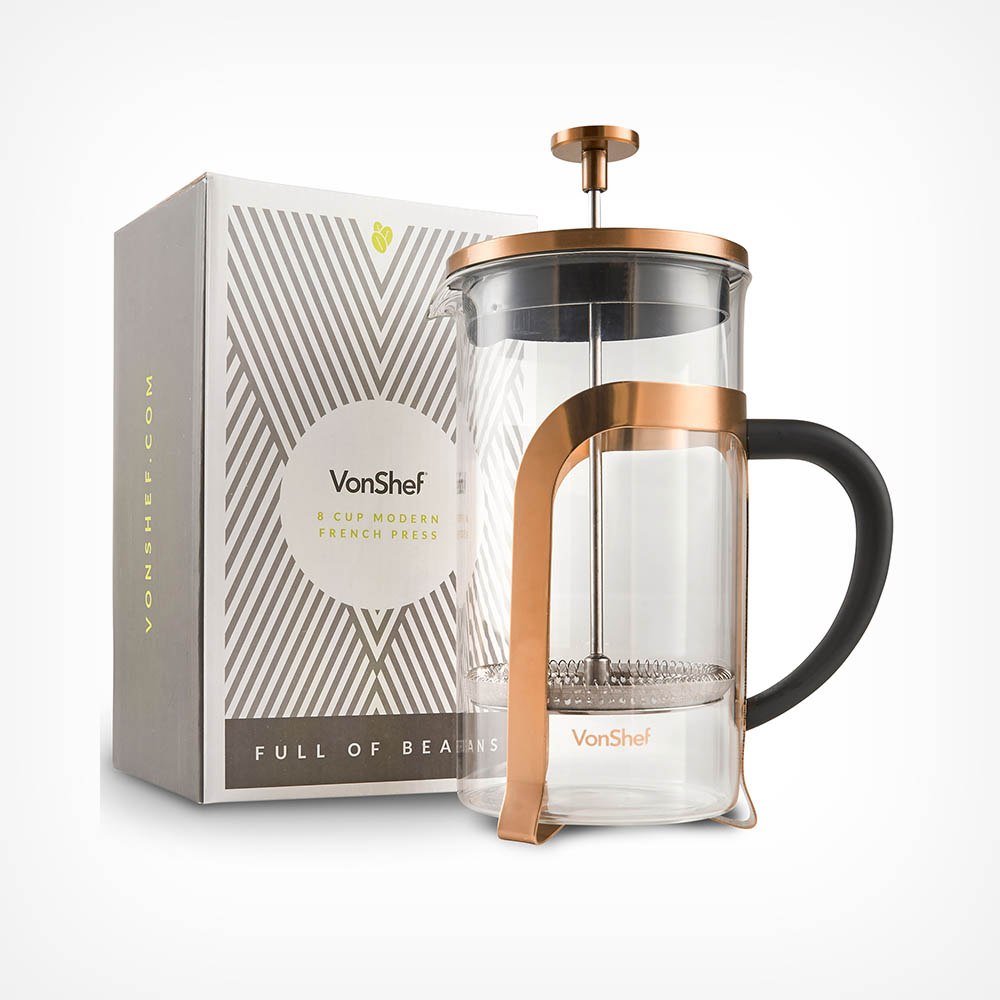 8 Cup Copper Cafetiere French Press Vonshef