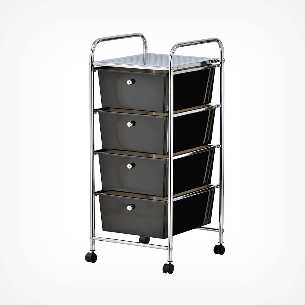 4 Drawer Trolley - Black