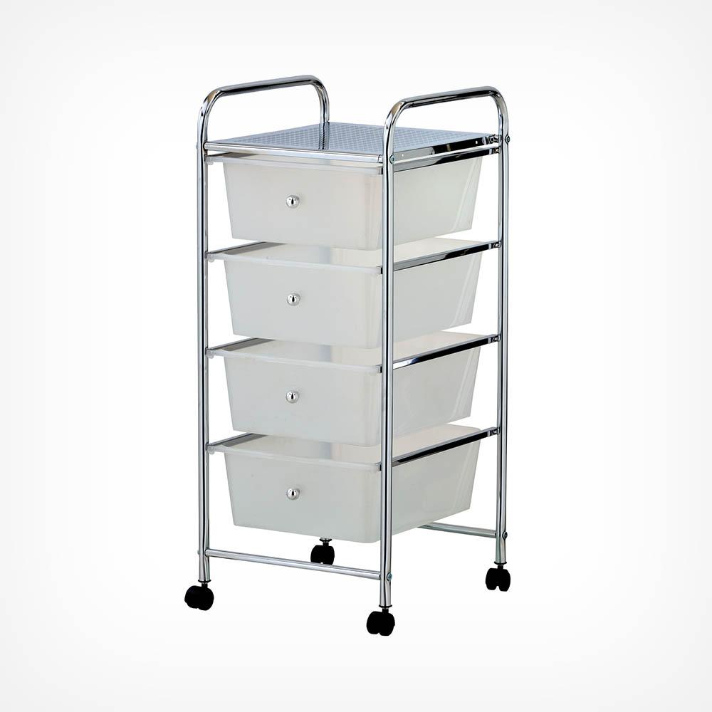 4 Drawer Trolley - White