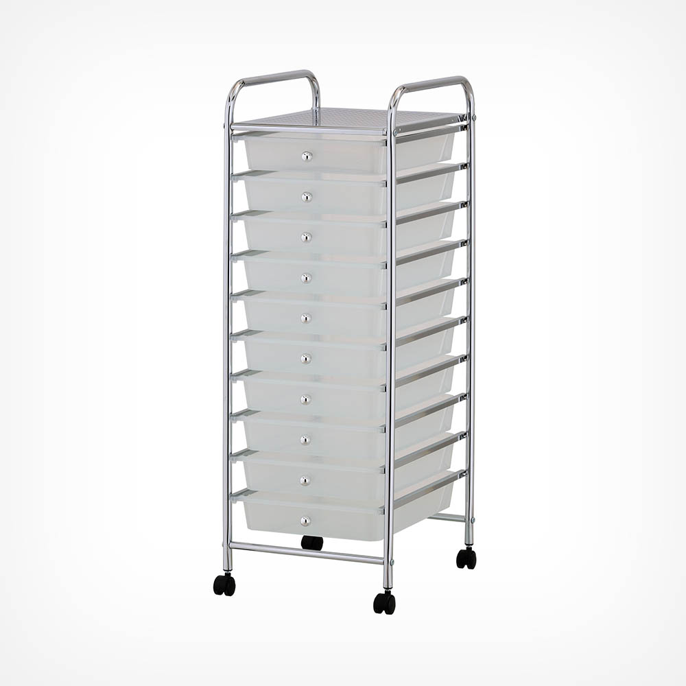 10 Drawer Trolley - White