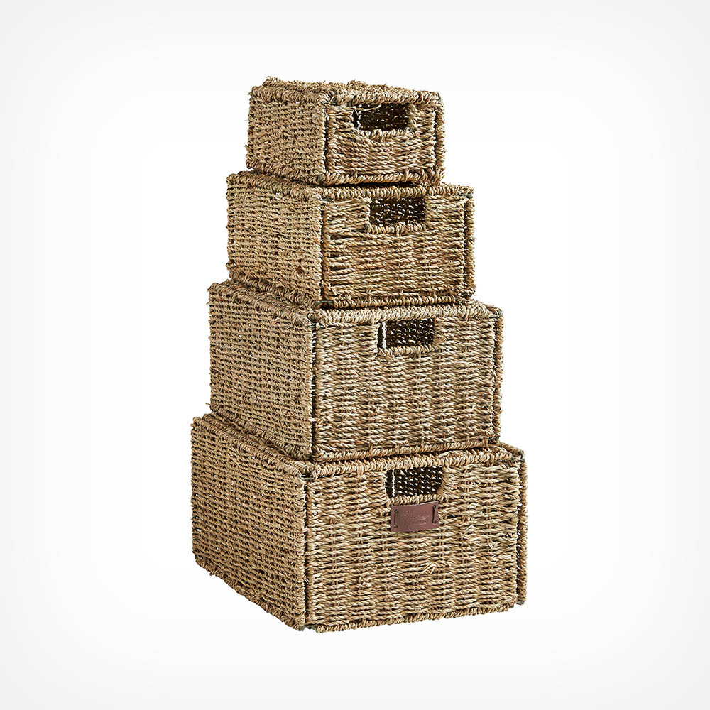 Set of 4 Seagrass Baskets with Lids