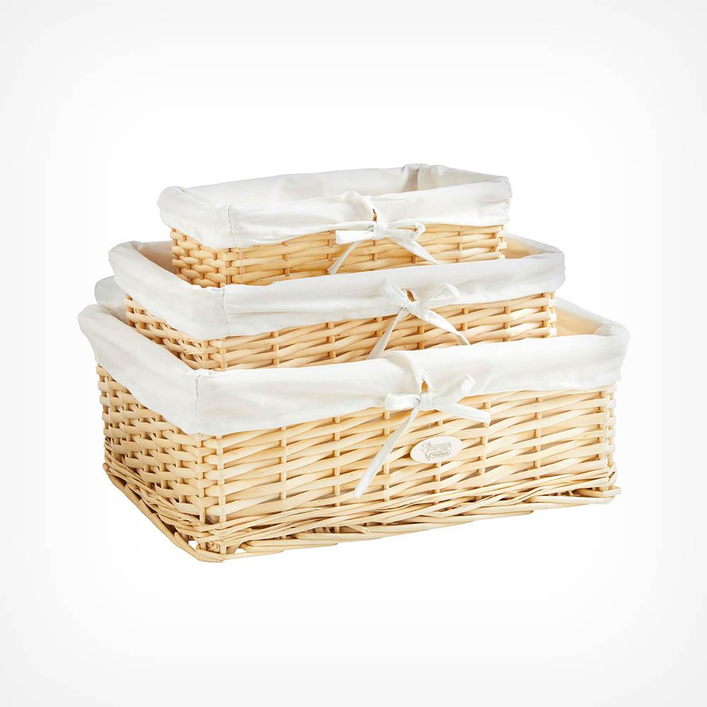 Set of 3 Beige Wicker Baskets