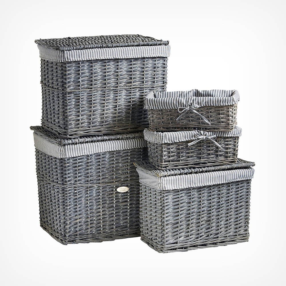 Grey Wicker Basket Set