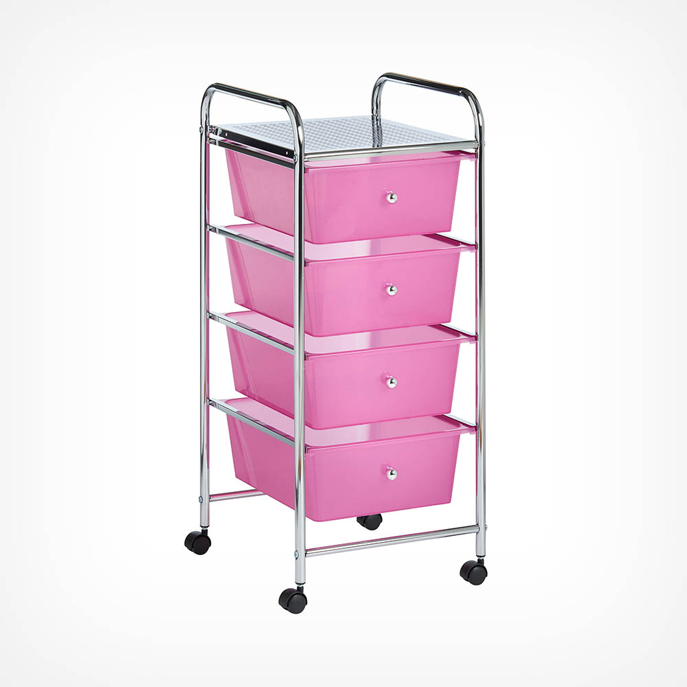 4 Drawer Trolley - Pink