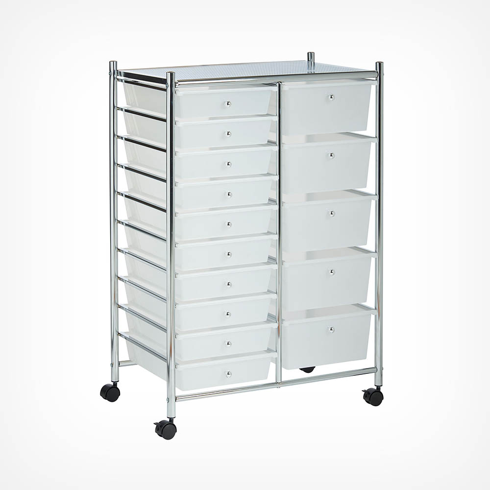 White 15 Drawer Trolley