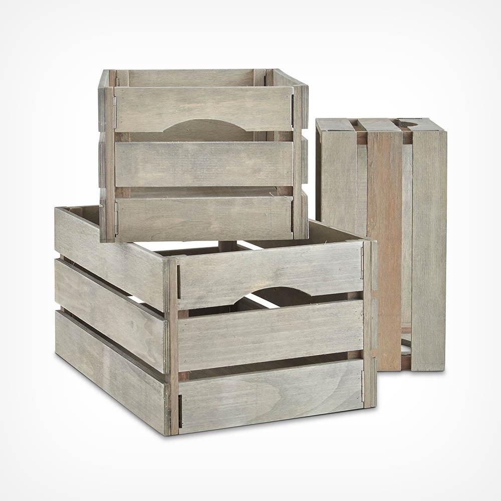 Set of 3 Grey Storage Crates