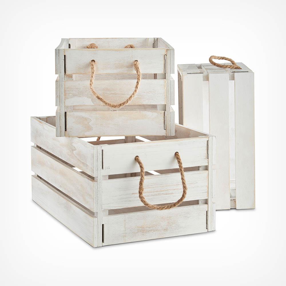 Set of 3 White Storage Crates