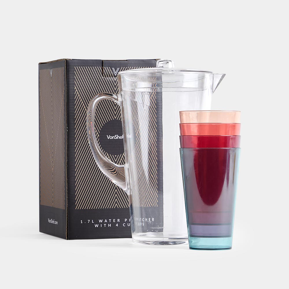 1.7L Water Pitcher With 4 Cups