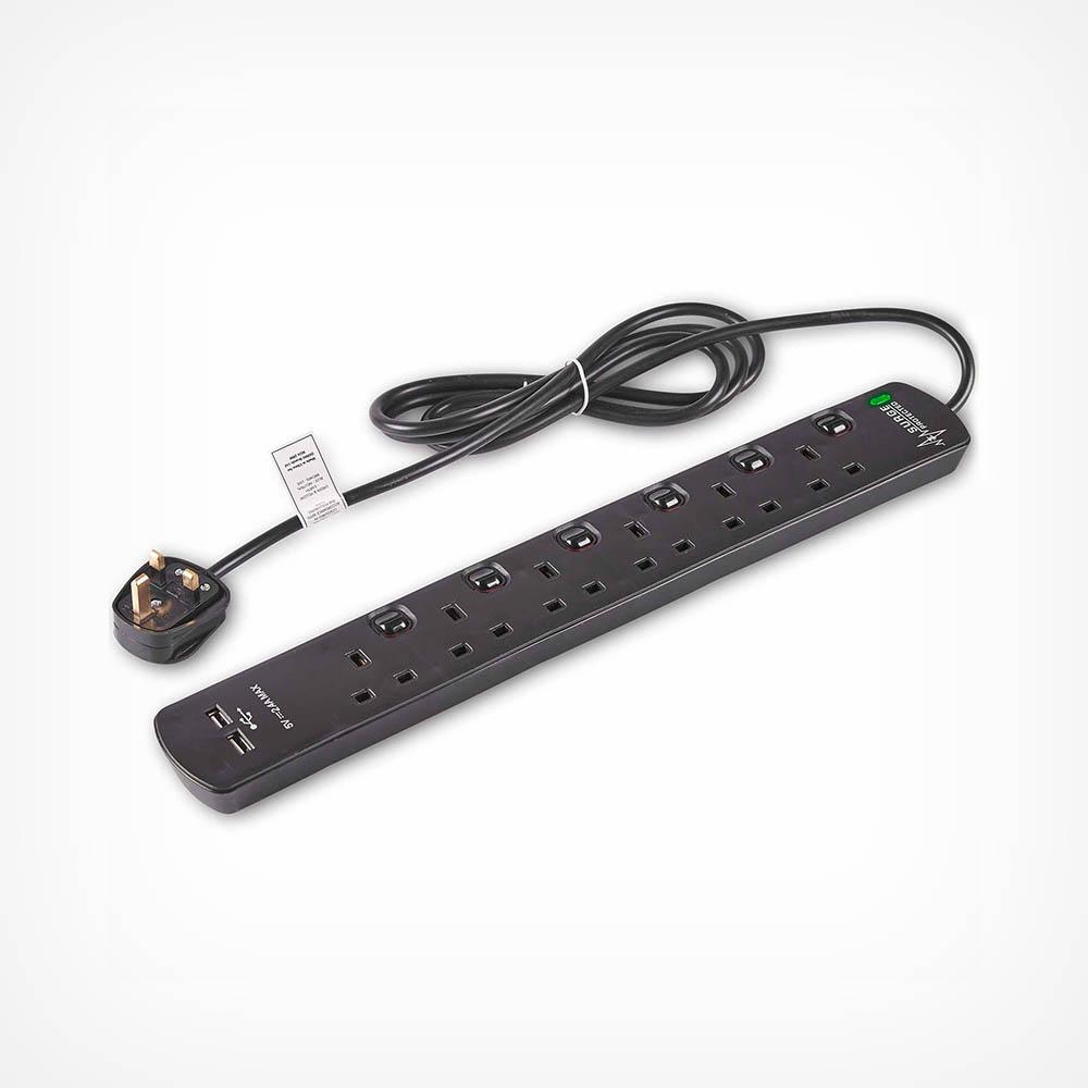 6 Socket Extension Lead & USB