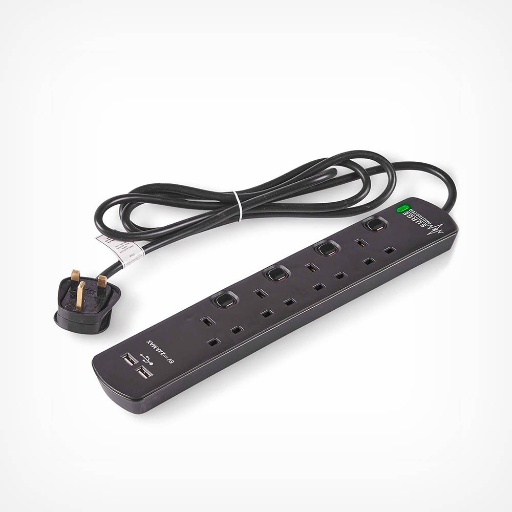 4 Socket Extension Lead & USB