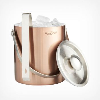 2L Copper Ice Bucket with Tongs