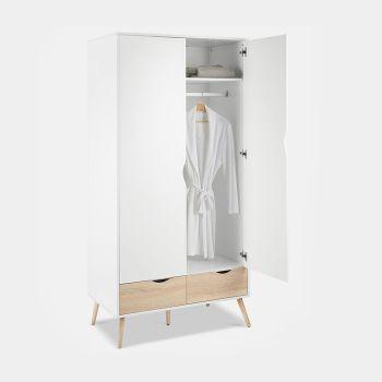 White & Oak Double Wardrobe