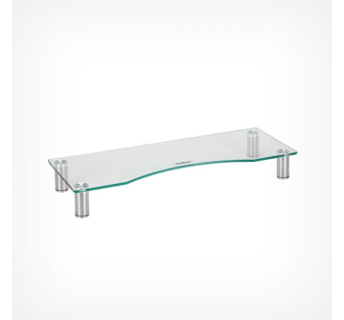 Large Curved Clear Glass Monitor Stand, Glass Monitor Stand