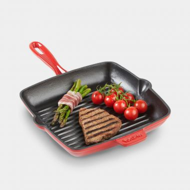 26cm Red Cast Iron Griddle Pan