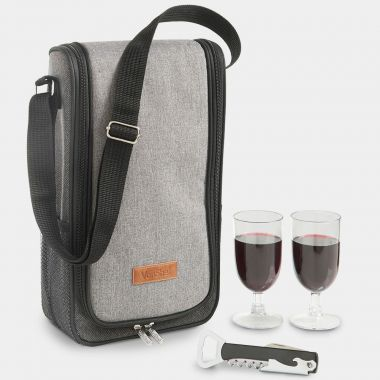 Grey Woven Wine Carrier for 2