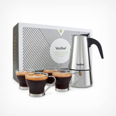 6 Cup Espresso Maker with 4 Cups