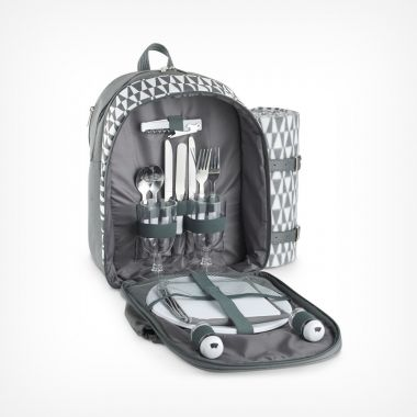 2 Person Picnic Backpack Grey Geo