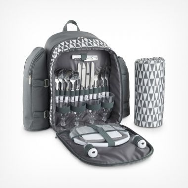 4 Person Picnic Backpack Geo Grey