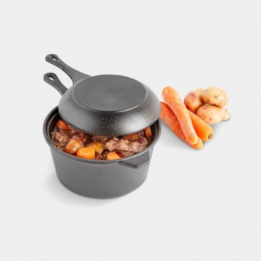 2pc Cast Iron Dutch Oven Set