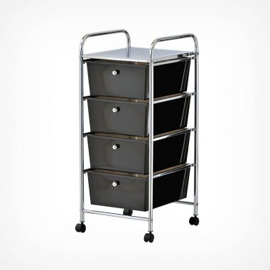 4 Drawer Trolley - Black