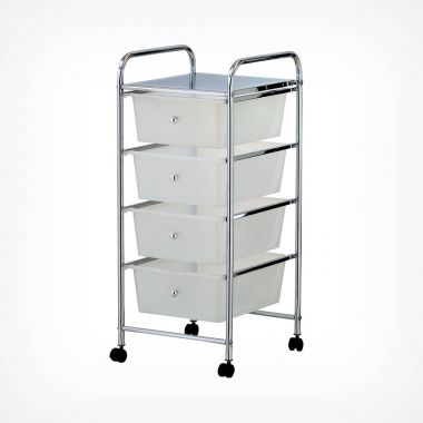 4 Drawer Trolley - White