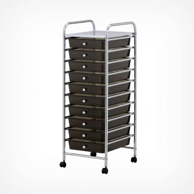 10 Drawer Trolley - Black