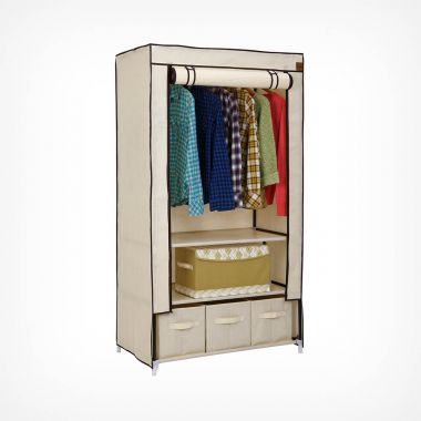Canvas Effect Wardrobe with Drawers