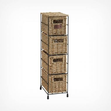 4 Tier Seagrass Drawer Unit