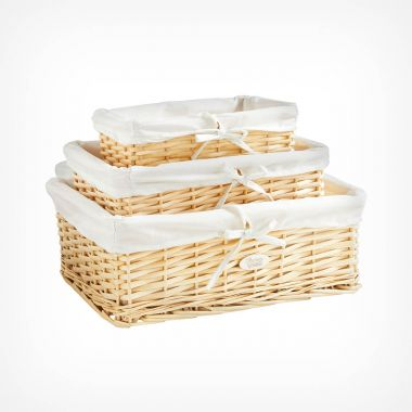 Set of 3 Beige Wicker Baskets