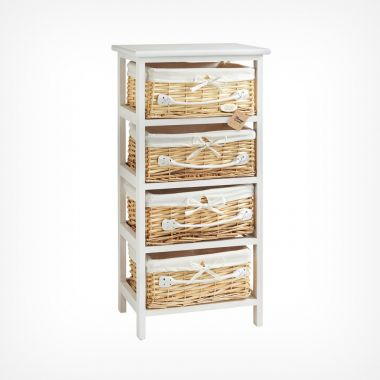 4 Drawer Wicker Storage Unit