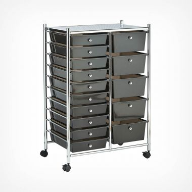 Black 15 Drawer Trolley