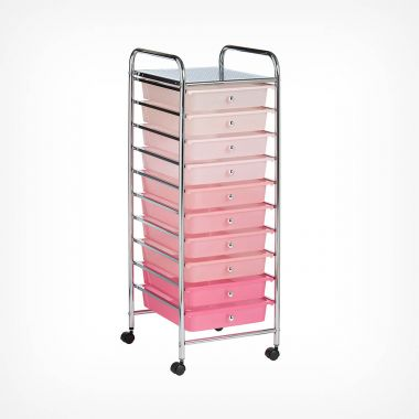 Pink Ombre 10 Drawer Trolley