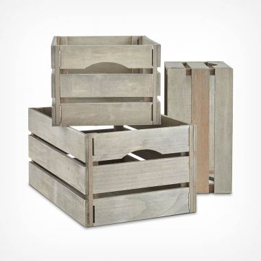 Set of 3 Grey Storage Crates