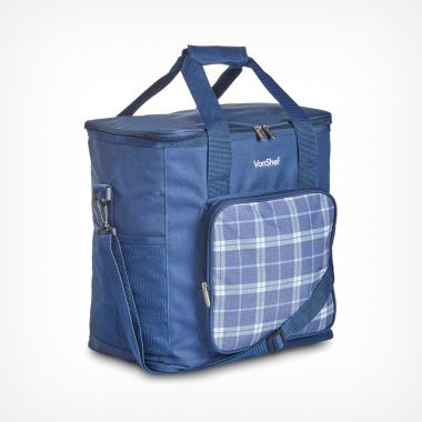 30L Navy Tartan Cooler Bag