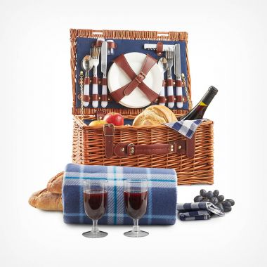 2 Person Navy Wicker Hamper