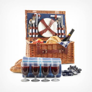 4 Person Navy Wicker Hamper
