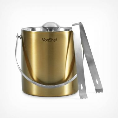 Brushed Gold Ice Bucket with Tongs