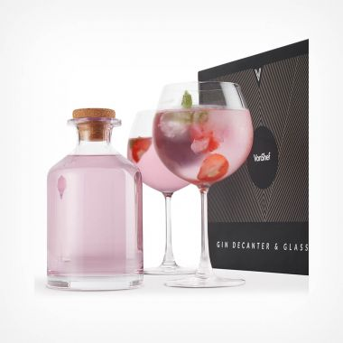 Glass Gin Decanter & 2 Balloon Glasses