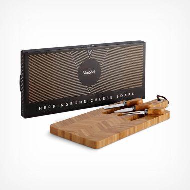 Herringbone Cheeseboard & Knife Set
