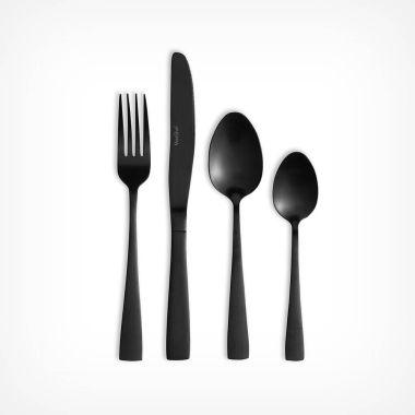 16 Piece Matte Black Cutlery Set