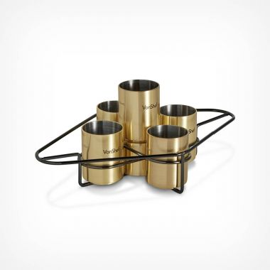 Brushed Gold Shot Glass Set