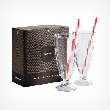 Milkshake Glass with Straw - Set of 2