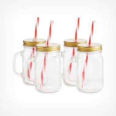 Set of 4 Mason Jar Glasses