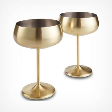 Brushed Gold Champagne Coupe Glasses