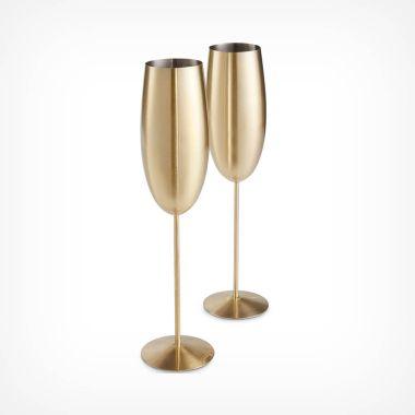 Brushed Gold Champagne Flutes