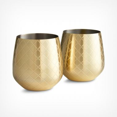Etched Gold Stemless Glasses