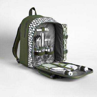 2 Person Green Geo Picnic Backpack