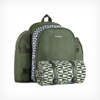 4 Person Green Geo Picnic Backpack