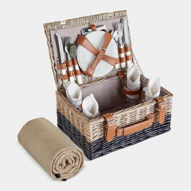 4 Person Herringbone Picnic Hamper